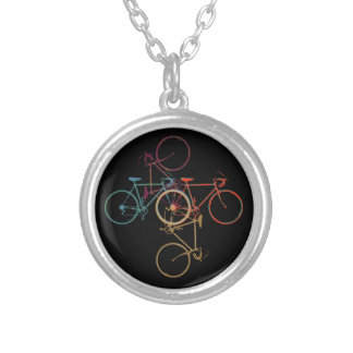 four bikes - cycling nice silver plated necklace