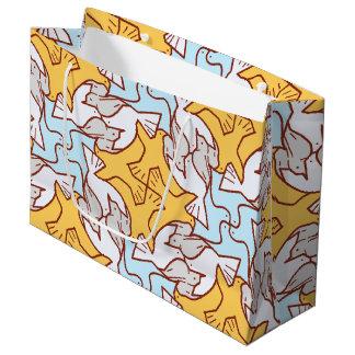 Four Birds Pattern Dinner Gift Bag - Large, Glossy