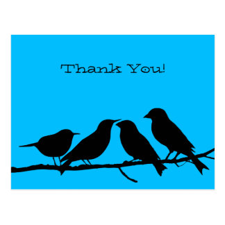 Four Birds Sitting on a Branch Thank You Postcard