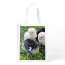 Four Black and Yellow Baby Chicken chicks Reusable Grocery Bag