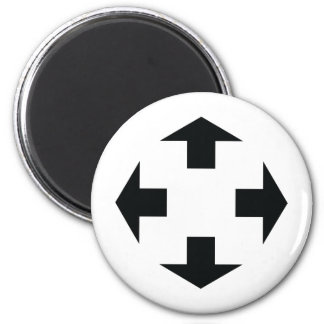 four black arrows icon 2 inch round magnet
