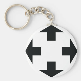 four black arrows icon basic round button keychain