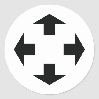 four black arrows icon classic round sticker