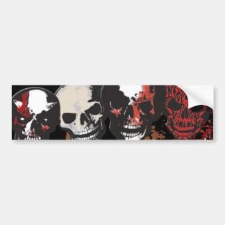 Four Bloody Skulls Scary Bumpersticker Car Bumper Sticker