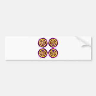 Four blooming flowers optical illusion bumper sticker