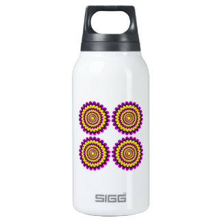 Four blooming flowers optical illusion insulated water bottle
