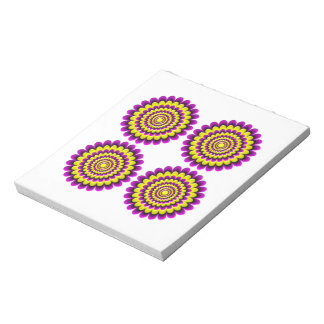 Four blooming flowers optical illusion notepad
