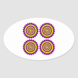 Four blooming flowers optical illusion oval sticker