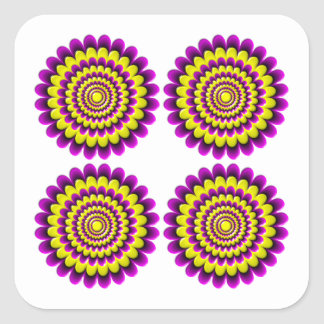 Four blooming flowers optical illusion square sticker