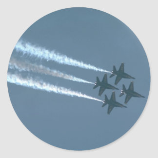 Four Blue Angels In Diamond Formation Classic Round Sticker