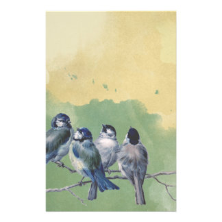 Four Blue Birds Watercolor Background Stationery
