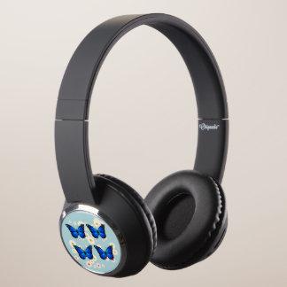 Four blue butterflies headphones