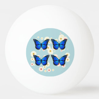 Four blue butterflies Ping-Pong ball
