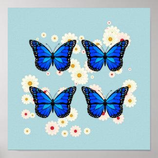 Four blue butterflies poster