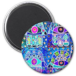 Four Blue Hamsa Vintage Tapastry Judaica 2 Inch Round Magnet