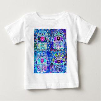 Four Blue Hamsa Vintage Tapastry Judaica Baby T-Shirt