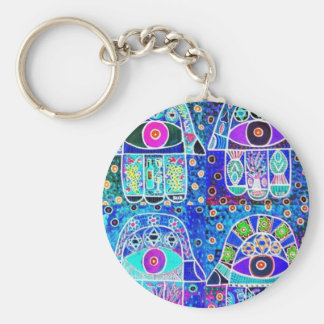 Four Blue Hamsa Vintage Tapastry Judaica Basic Round Button Keychain