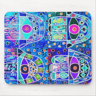 Four Blue Hamsa Vintage Tapastry Judaica Mouse Pad