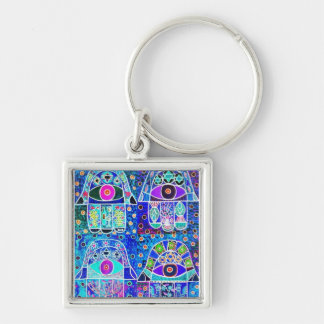 Four Blue Hamsa Vintage Tapastry Judaica Silver-Colored Square Keychain