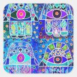 Four Blue Hamsa Vintage Tapastry Judaica Square Stickers
