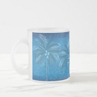 Four Blue Palm Frosted Glass Coffee Mug