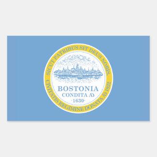 FOUR Boston Flag Rectangle Stickers
