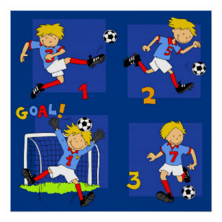 Four boys playing Soccer Poster