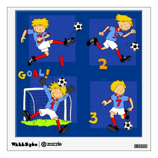 Four boys playing Soccer Wall Stickers