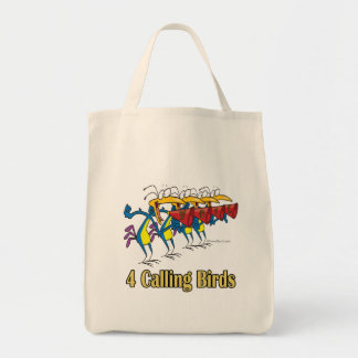 four calling birds 4th fourth day of christmas canvas bag