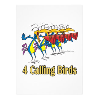 four calling birds 4th fourth day of christmas personalized announcement