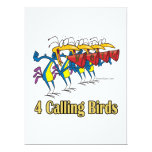 four calling birds 4th fourth day of christmas 6.5x8.75 paper invitation card