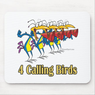 four calling birds 4th fourth day of christmas mouse pad