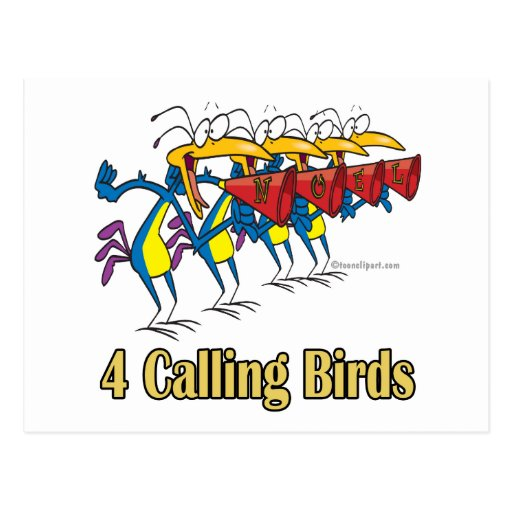 four calling birds 4th fourth day of christmas post cards