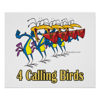 four calling birds 4th fourth day of christmas poster