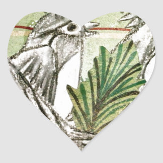 Four Calling Birds Heart Sticker