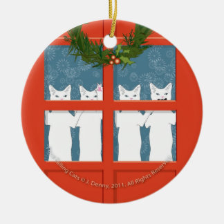 Four Calling Cats... Ceramic Ornament