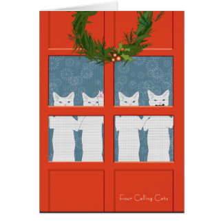 Four Calling Cats (holiday card) Greeting Card