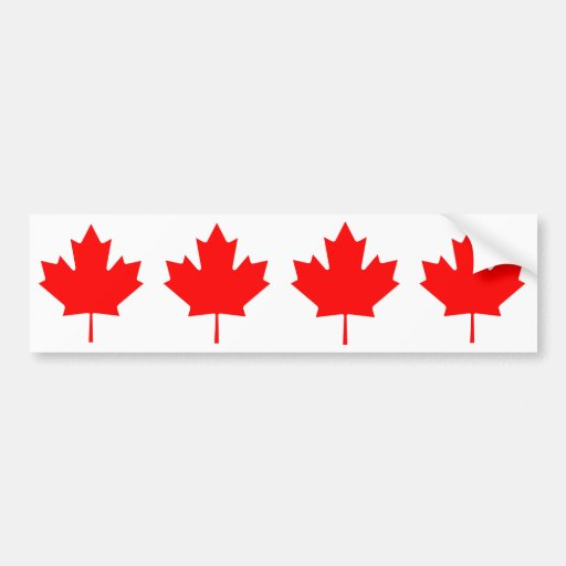 FOUR Canada Maple Leaf Car Bumper Sticker