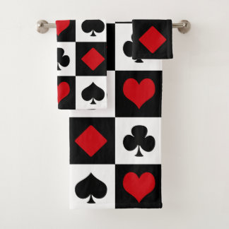Four card suits bath towel set