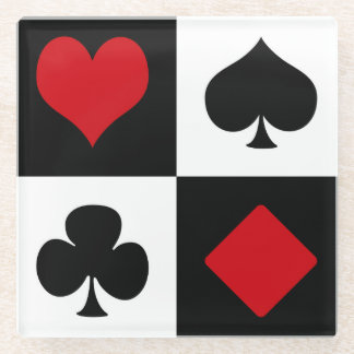 Four card suits glass coaster