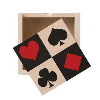 Four card suits wooden keepsake box