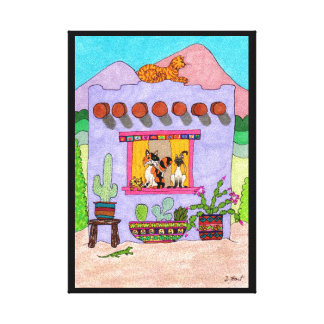Four Cats at a Purple Adobe House Canvas Print