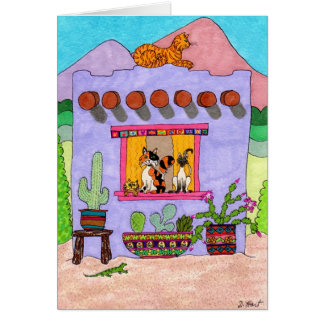 Four Cats at a Purple Adobe House Card
