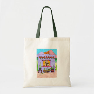 Four Cats at a Purple Adobe House Tote Bag