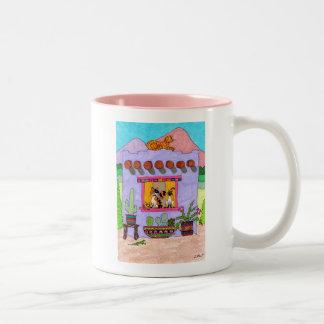 Four Cats at a Purple Adobe House Two-Tone Coffee Mug