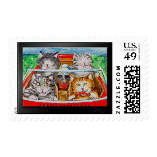 Four Cats In A Convertible Postage Stamp