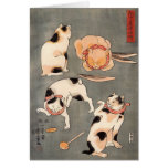 Four Cats in Different Poses Greeting Card