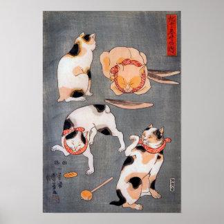 Four Cats Japanese Ukiyo-e Art Utagawa Kuniyoshi Poster