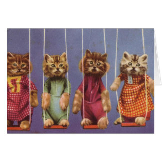 Four Cats on Swings Greeting Card