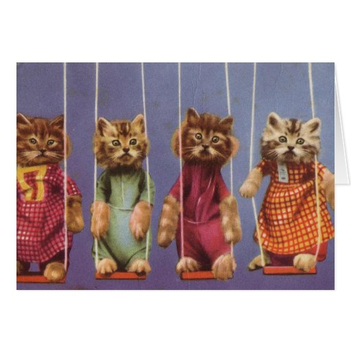 Four Cats on Swings Greeting Cards